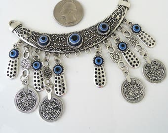 Crescent Moon Evil Eye Connector Blue Necklace - Antiqued Silver Tribal Connector -  DIY Necklace - Ornate Necklace Finding Ethnic Component