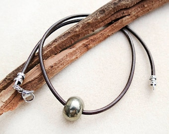 Pyrite Necklace, Men's Jewelry, Pyrite, Leather, Dark Brown, Black, Rustic, Zen, Minimalist, Handmade, Gift for Him, Gift for Man