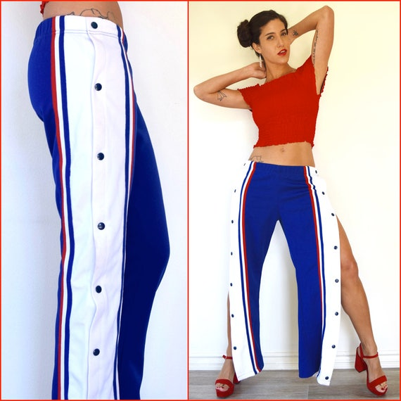 Vintage 80s 90s Red White and Blue Striped Snap Off Cheerleader Track Pants (size small, medium)