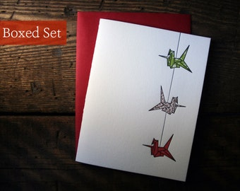Letterpress Printed String of Cranes Cards (Green-Copper-Red)