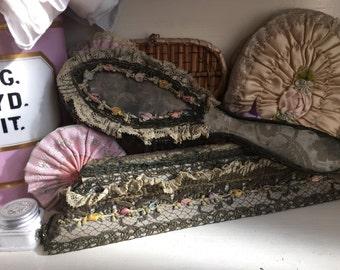STUNNING Antique Vintage Metallic  Ribbonwork Ribbon Work Blue Damask Rosette Bows Comb Brish Set Boudoir