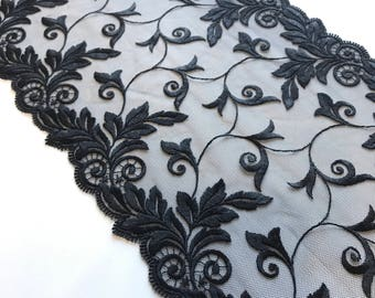 """BLACK, 9"""" Wide, Embroidered Floral Lace Trim, BTY By The Yard"""