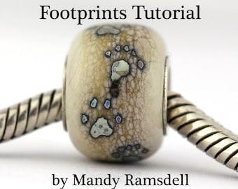 Lampwork Beadmaking TUTORIAL, Footprints and Paw Prints tutorial, glass beadmaking tutorial, lampwork tutorial, footprint tutorial