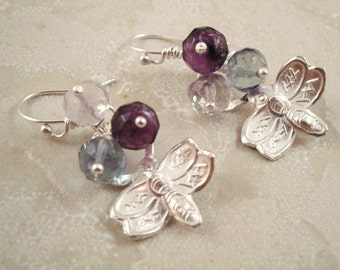 Dragonfly earrings with gemstones in sterling silver.  Made by Devine Designs Jewelry on Etsy. ON SALE