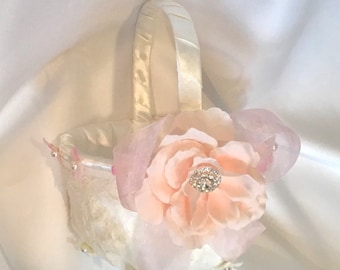 wedding flower girl basket custom made ivory or whitelace and flowers lush pink soft colors