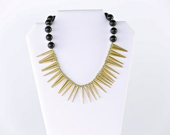Black and Gold Spike Necklace