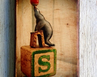 Vintage Toy  S is for Seal Art/Photo - Wall Art 4x6