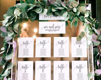 Wedding Seating Chart Template, Seating Plan, Wedding Seating Cards, Table Cards, Seating Cards, PDF Instant Download #BPB203_5