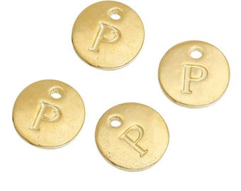 Letter P - Pendant 12mm gold gilt