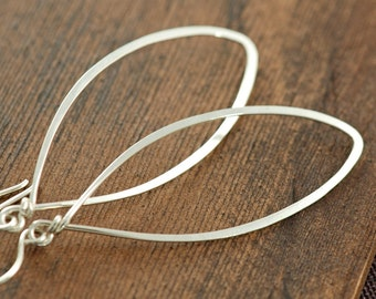 Sterling Silver Leaf Earrings, Modern Minimal Jewelry