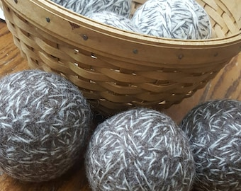 Eco-Friendly, Green Living, Carbon Footprint, 6, 100% wool dryer balls (3 brindle and 3 toasted almond)