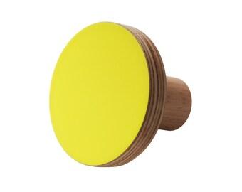 Wooden knob yellow fluro colour