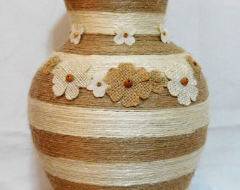 Jute Twine Wrapped Tall Vase