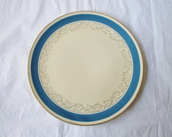 "9.5"" Round Plate from Homer Laughlin, Ivory with Blue Band, Gold Leaves, 1934"