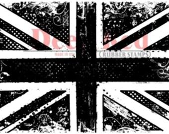 Deep Red Rubber Stamp British Flag
