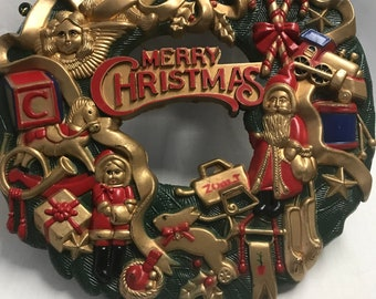 Vintage Christmas Children's Molded Plastic Wreath