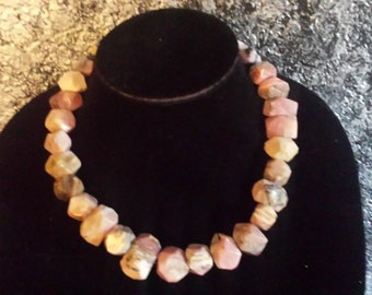 Rare Scarce Pink Faceted Nugget Opal Necklace Big Bold Chunky JACKIE O Jewelry Elegant Classy Tasteful Conservative Wilma Flintstone Couture