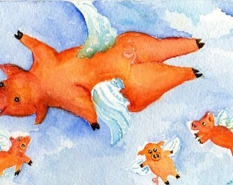 Flying Pigs watercolor painting original, when pigs fly, pigs with wings,  pig art, watercolor art, flying pig illustration