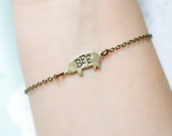Seconds SALE - Pig Friendship Bracelet - Pig BBF Bracelet - Best Friend Bracelet - Friendship Jewelry - BFF Jewelry