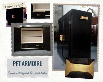 Animal de compagnie armoire, garde-robe pour animaux de compagnie, conçus sur mesure, à la main, chien placard, Cabinet de vêtements pour animaux de compagnie, placard garde-robe chien, animaux de compagnie les meubles laqués, armoire de chien