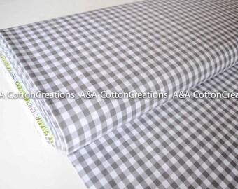 "Grey 1/4"" Plaid Cotton, Carolina Gingham, Grey Scarf Fabric,  Plaid Quilting fabric, Apparel Fabric,Plaid cotton Scarf,Robert Kaufman"