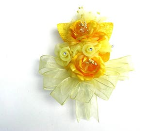 Yellow wearable corsage, Corsage for women, Bridal shower bow, Prom corsage, All yellow corsage, Unique floral gift, Anniversary corsage