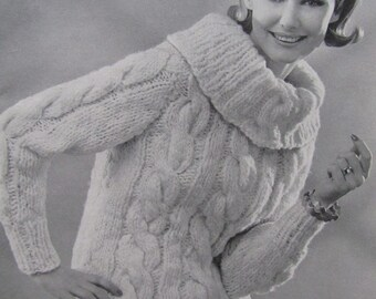 1960's Knitting Patterns, Vintage Pattern Women's Sweater PDF Pattern 6705