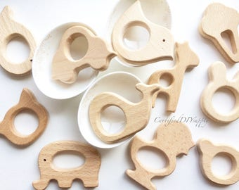 Wooden teether animal/ Certified/ Organic Teething/ Baby Safe/ Bunny Ears/ DIY/ Teething Toy/ Bird/ Elephant/ Whale/ Cat/ Wooden Teethers