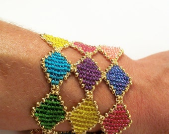 Stained Glass Bracelet Cuff Pattern, Beading Tutorial in PDF