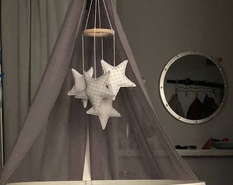 GREY WHITE nursery mobile, baby mobiles hanging, baby girl nursery decor, cloud mobile, star mobile, moon mobile
