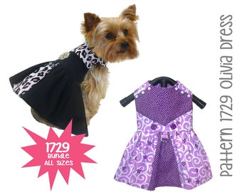 Olivia Dog Dress Pattern 1729 * Dog Dresses * Dog Clothes * Pet Clothes * Dog Clothes Patterns * Small Dog Clothes * Pets * Bundle All Sizes