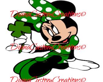 Green St. Patricks Day Minnie Cricut Silhouette