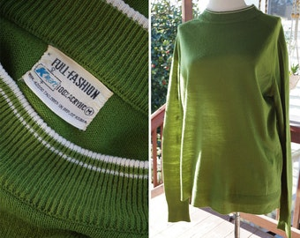 OLIVE Green 1970's 60's Vintage Men's Acrylic Knit Sweater Shirt with Mock Striped Collar // size Medium // by KMART