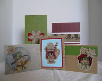 Holiday Greeting Cards, Set of 5 Holiday Cards, Handmand Christmas Cards, Christmas Card Assortment, Snowman Cocoa Theme Christmas Card