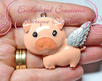 """2"""" Flying Pig Charm With Grey Wings, When Pigs Fly, Purse Charm, Chunky Pendant, Keychain, Bookmark, Zipper Pull Chunky Jewelry, Pink Piggy"""
