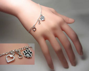 925 Sterling Silver Always In My Heart Bracelet Animal Lovers Bracelet Memorial Charms Bracelet Paw Print Bracelet Infinity Special Gift