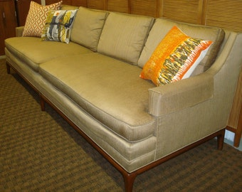 SOLD Classic Mid Century Bronze Silk Flair Inc. Sofa in the style of Robsjohn Gibbings