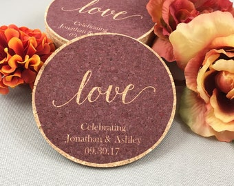 Love Script in Cranberry Cork Coaster Wedding Favors Personalized / Wedding Reception Cork Coaster Favors for Guests