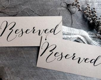 RESERVED Signs, Reserved Sign, Wedding Reserved Signs, Kraft Wedding Signs, Reserved Chair Signs, Wedding chair Signs, Reserved