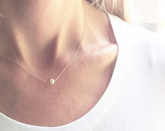 Pearl Necklace,  Gold Pearl Necklace - Dainty Necklace, June Birthstone , Tiny Pearl, 14k Gold, Sterling Silver, Rose Gold