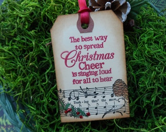 Spread Christmas Cheer, Sing Loud For All To Hear, Christmas Tag, Christmas Carol, gift Tag