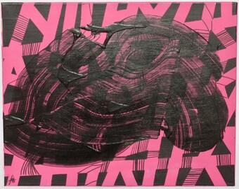 Pink Traffic Jam geometric acrylic painting