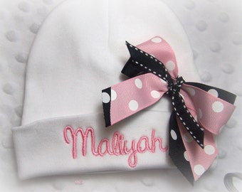 personalized baby hospital hat with bow for girl, baby name hat, newborn hospital hat girl, personalized baby beanie, monogrammed baby hat