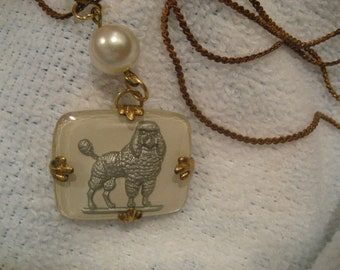 Vintage standard Poodle Dog glass intaglio necklace  reverse carved and painted