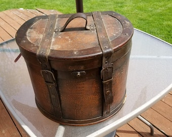 Vintage Hat Case Leather with Straps Round with top Handle Steamer Style Train Case Photo Prop