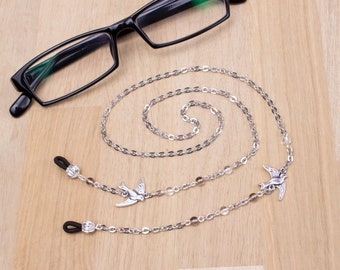 Silver birds glasses chain - Flying birds and beads glasses lanyard | Eyeglasses accessories | Readers gift | Sunglasses & Eyewear neck cord