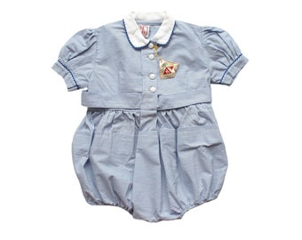 FRENCH VINTAGE 50's / kids / sunsuit / blue pinstriped cotton + white collar / new old stock / size 18 months