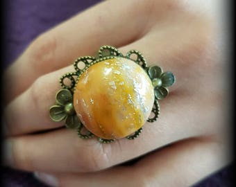 Handmade Adjustable ring orange and gold baroque fantasy woman
