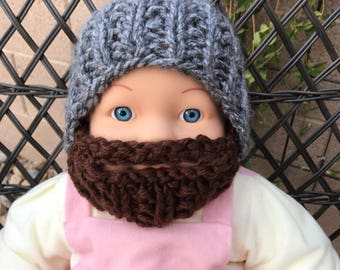 READY TO SHIP Baby Bearded Beanie - Gray Grey Hat with Brown Beard 0-6 months Lumberjack