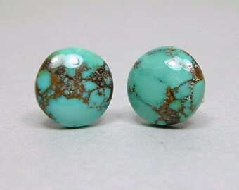 ARIZONA TURQUOISE 10mm Round Cabochon Nickel Free Titanium Post Blue Green Morenci Mine Matrix Gemstone Earrings